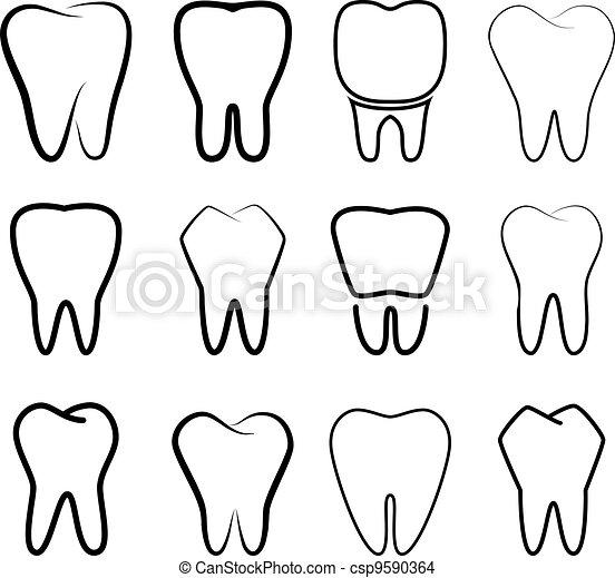 ensemble, stabilisé, dents - csp9590364