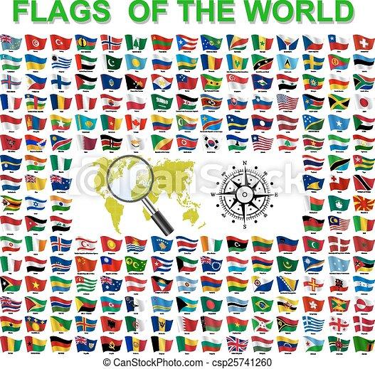 ensemble, states., souverain, illustration, vecteur, drapeaux, mondiale - csp25741260