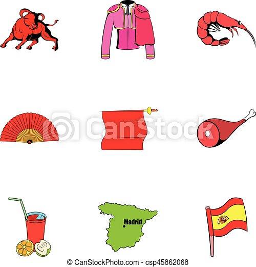 Ensemble style espagnol dessin anim ic nes ic nes toile set illustration vecteur - Dessin espagne ...