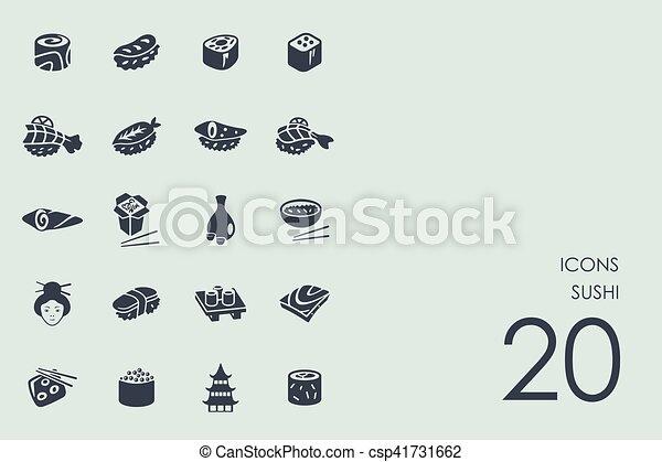 ensemble, sushi, icônes - csp41731662
