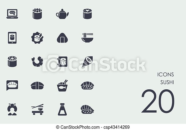 ensemble, sushi, icônes - csp43414269