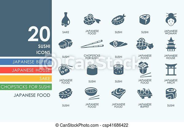 ensemble, sushi, icônes - csp41686422