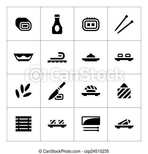 ensemble, sushi, icônes - csp24510235