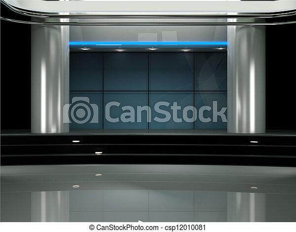 ensemble télé, studio, virtuel, 3d - csp12010081