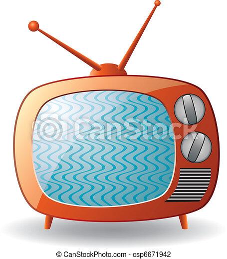 ensemble télé, vecteur, retro - csp6671942