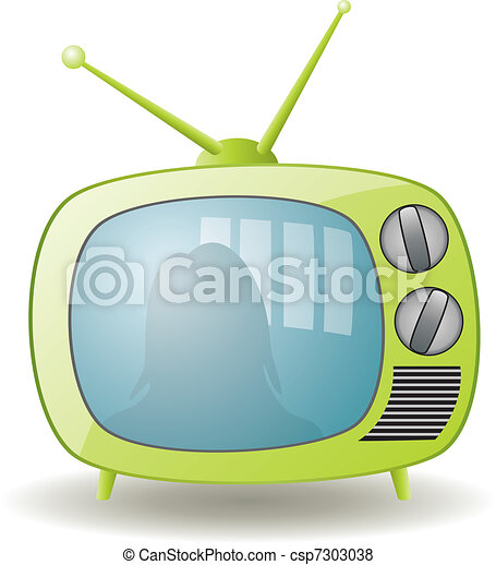ensemble télé, vert, retro - csp7303038