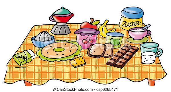 Ensemble, table, petit déjeuner. Café, pain, café ...