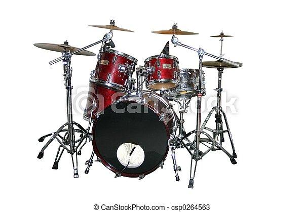 ensemble, tambour, isolé - csp0264563