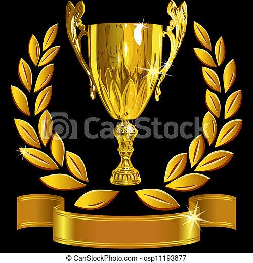 ensemble, tasse, reussite, or, couronne, enjôleur, vecteur, arrière-plan noir, laurier, brillant, ruban - csp11193877