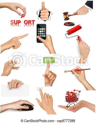ensemble, tenue, objets, mains - csp9777288
