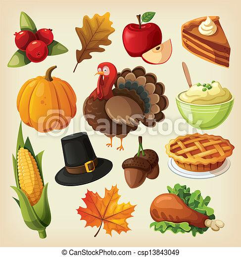 ensemble, thanksgiving, icônes - csp13843049