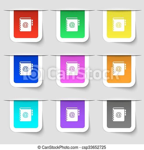 ensemble, ton, signe., étiquettes, moderne, multicolore, téléphone, vecteur, adresse, cahier, icône, livre, design. - csp33652725