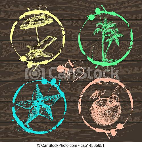 ensemble, ton, timbre, voyage, -, vacances, collection, main, vector., album, illustrations, dessiné, conception - csp14565651