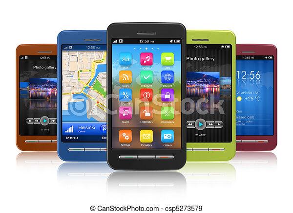 ensemble, touchscreen, smartphones - csp5273579