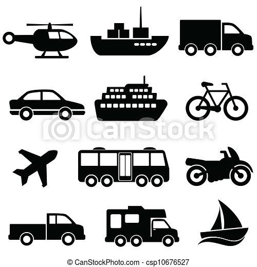 ensemble, transport, icône - csp10676527