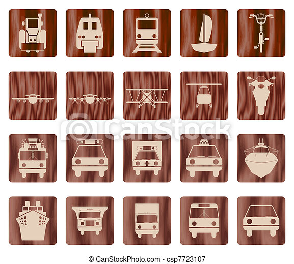 ensemble, transport, icône - csp7723107