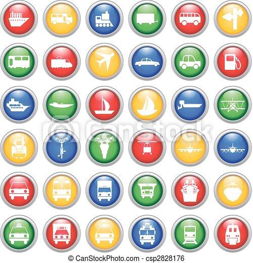 ensemble, transport, icônes - csp2828176