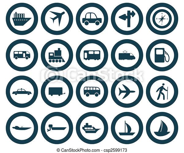 ensemble, transport, icônes - csp2599173