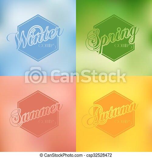 ensemble, typographie, quatre, vecteur, fond, saisons - csp32528472