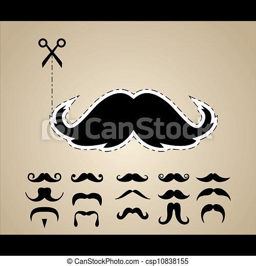 ensemble, vecteur, hipster, moustache - csp10838155