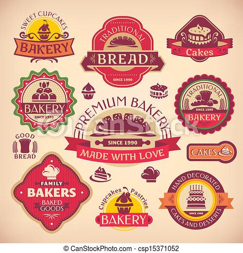 ensemble, vendange, étiquettes, boulangerie, vecteur, divers - csp15371052