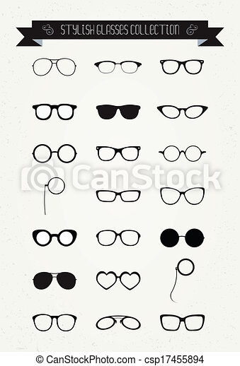 ensemble, vendange, hipster, retro, lunettes, icône - csp17455894