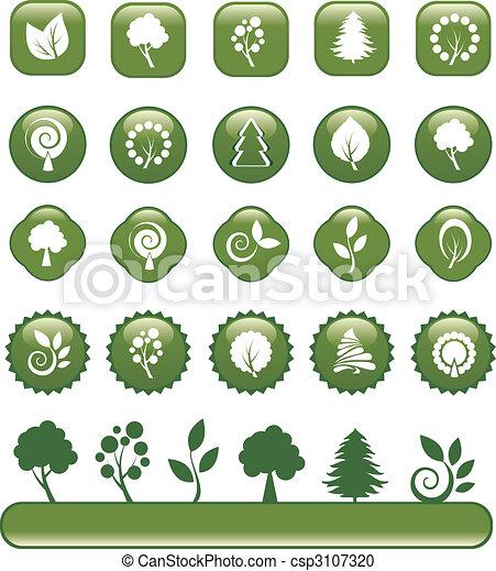 ensemble, vert, nature, icônes - csp3107320