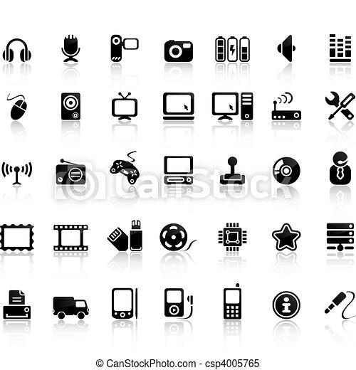 ensemble, vidéo, icône, audio - csp4005765