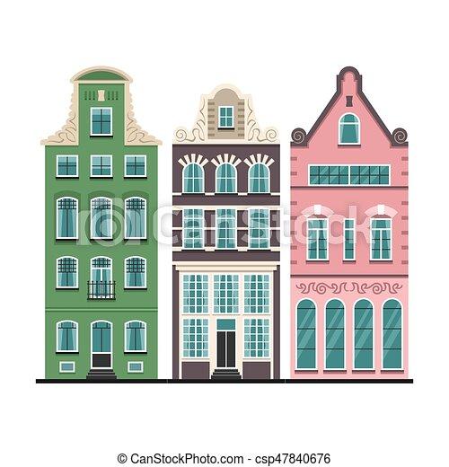 Ensemble Vieux Fa 231 Ades Maisons 3 Amsterdam Dessin