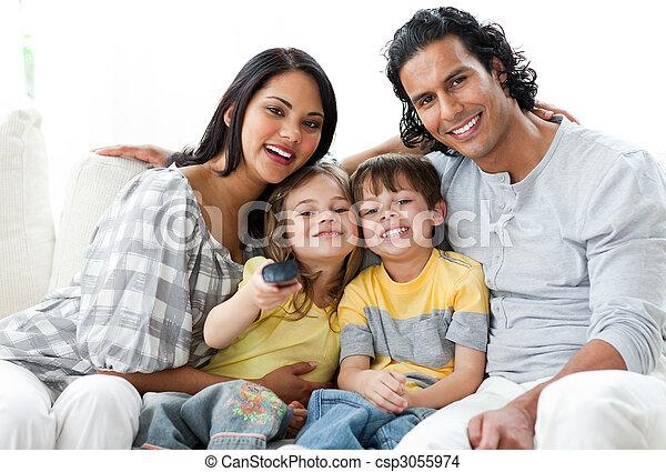 ensemble, vif, famille, télé regarde - csp3055974