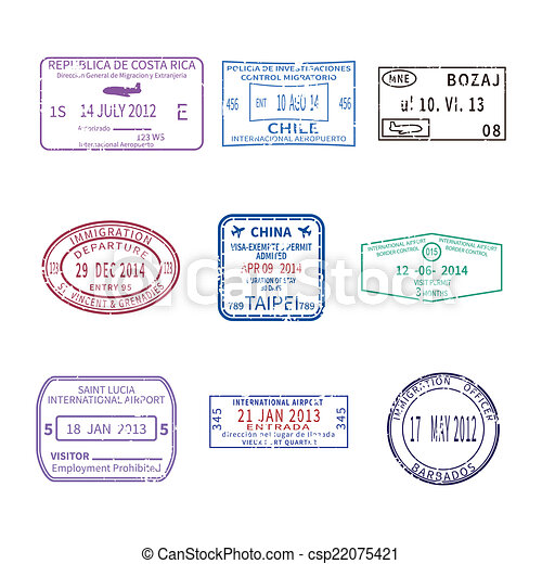 ensemble, voyage, timbres, vecteur, passeport, international, visa - csp22075421