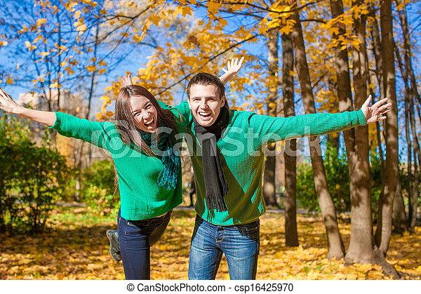 ensoleillé, couple, parc, avoir, automne, automne, amusement, jour, heureux - csp16425970