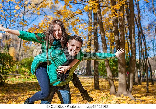 ensoleillé, couple, parc, avoir, automne, automne, amusement, jour, heureux - csp16425983