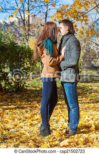 ensoleillé, couple, parc, jeune, automne, diminuez jour - csp21502723