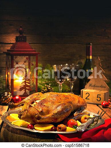 Braten Weihnachten.Ente äpfel Braten Weihnachten