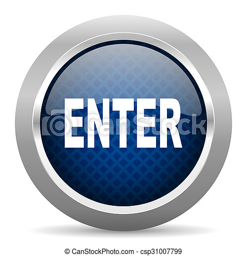 enter blue circle glossy web icon on white background, round button for internet and mobile app - csp31007799