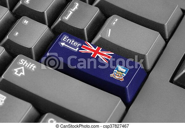 Enter button with Flag of Falkland Islands - csp37827467