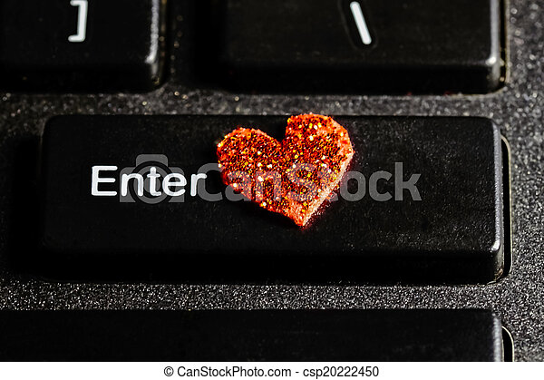 Enter Computer Keyboard Key With Red Heart Symbol Closeup Of