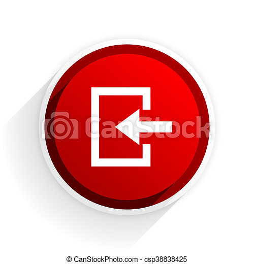enter flat icon with shadow on white background, red modern design web element - csp38838425
