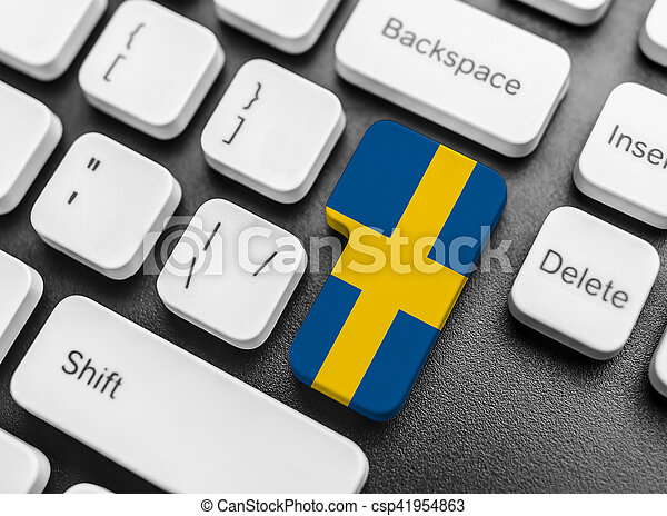 Enter key button with Flag of Sweden. - csp41954863