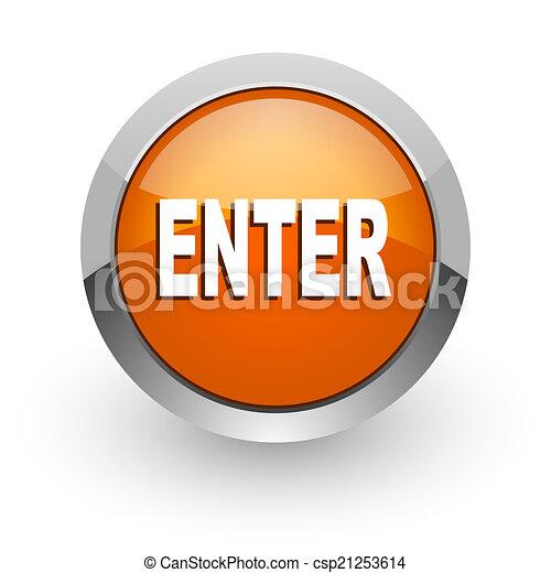 enter orange glossy web icon - csp21253614