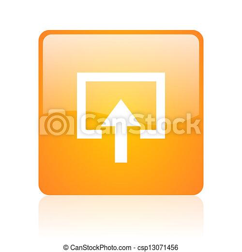 enter orange square glossy web icon - csp13071456