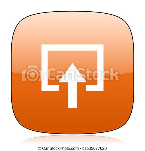 enter orange square web design glossy icon - csp35677620