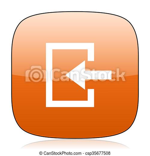 enter orange square web design glossy icon - csp35677508