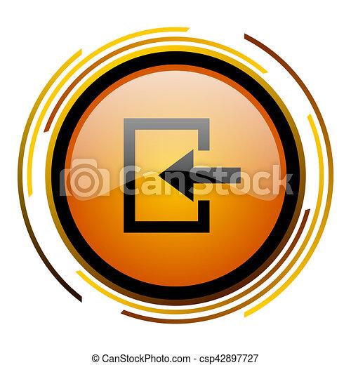 enter round design orange glossy web icon - csp42897727