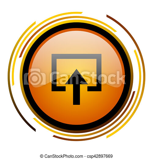 enter round design orange glossy web icon - csp42897669