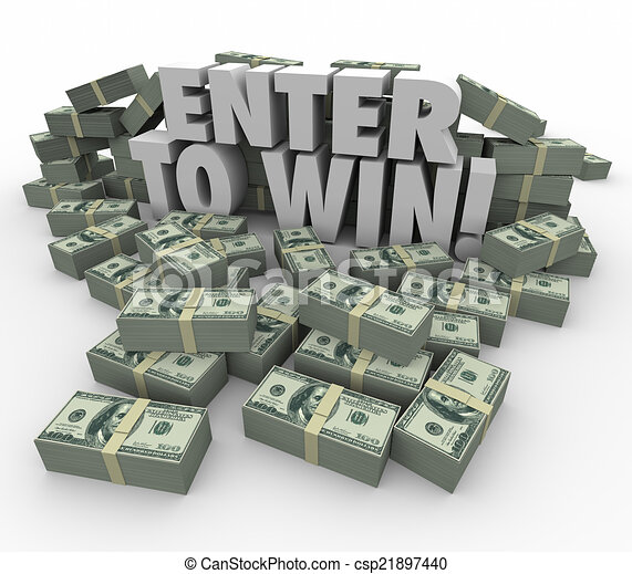 Enter to Win 3d Words Cash Money Stacks Contest Raffle Lottery