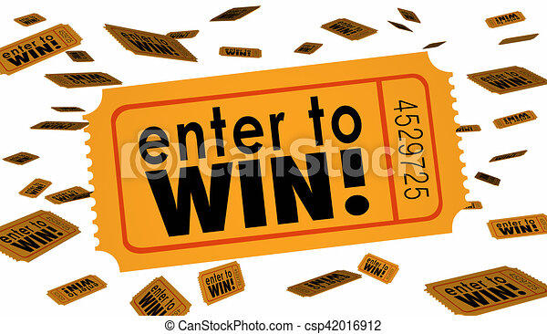 enter to win contest raffle lottery ticket words lucky 3d illustration rh canstockphoto com free lottery winner clipart