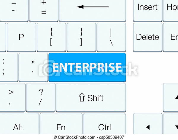 Enterprise cyan blue keyboard button - csp50509407