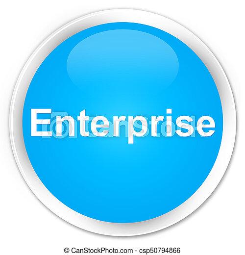 Enterprise premium cyan blue round button - csp50794866